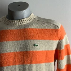Lacoste Orange Striped Sweater Size L